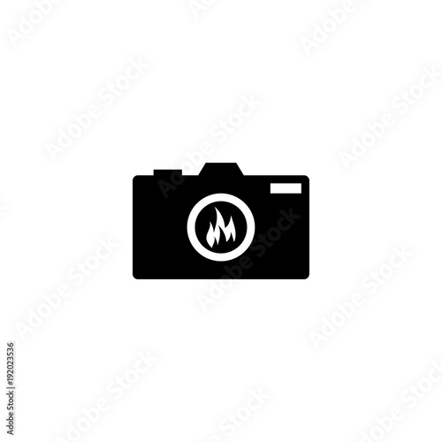 Silhouette of camera photography with fire flame on a lens logo ...