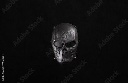 Photo  black mask on a black isolated background