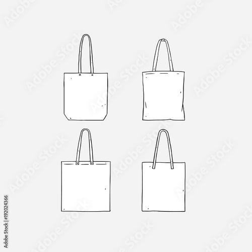 Hand drawn vector illustration of blank white tote bag on white background Fototapet