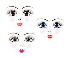Doll, Girl, Woman Cute Face Template Vector