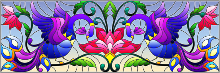 Panel Szklany Illustration in stained glass style with abstract birds and flowers on a sky background , mirror, horizontal image
