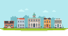City View With City Hall And Small Residential Houses With Landscape. Vector Illustration In Flat Style, Design Template