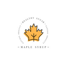 Packaging Design Template Logo And Emblem - Syrup And Topping - Maple. Logo In Trendy Linear Style.