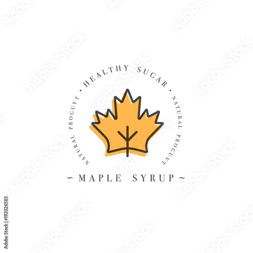 Valokuva Packaging design template logo and emblem - syrup and topping - maple