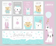 Blue Pink Pastel Greeting Card With Rabbit,bear,cat And Dog
