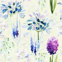 Fototapeta Spring flowers seamless pattern