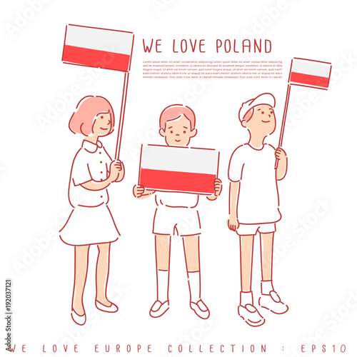 Polska - plakaty   boy-and-girl-holding-national-flag-vector-illustration
