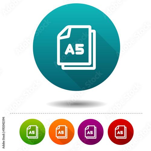Fotografía Paper size A5 icon. Document DIN symbol sign. Web Button.