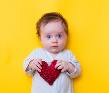 Little Baby With Red Heart Sha...