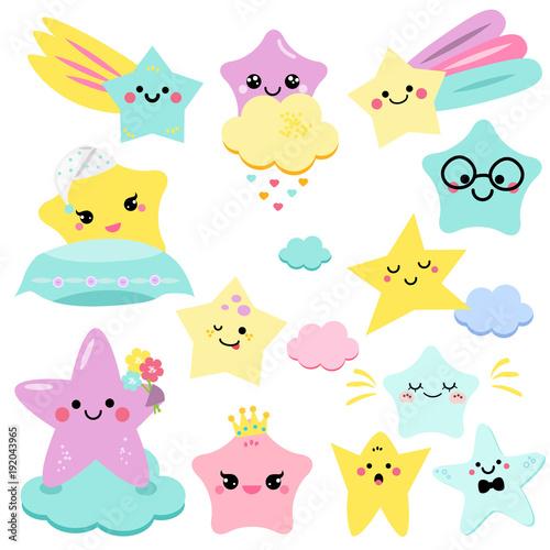 Cute stars vector illustration for kids. isolated design children. baby shower stars, design elements in kawaii style