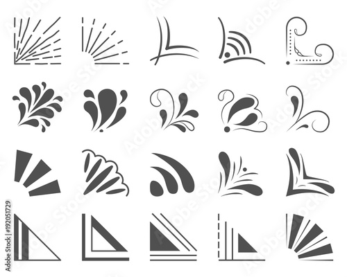 Photo Set of 20 hand drawn corners and design elements