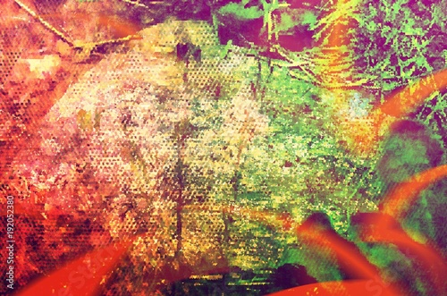 Photo  Pixelated Orange Light Beam Abstract