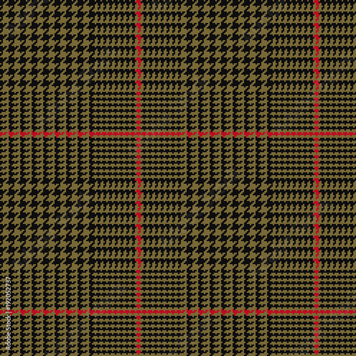 Photo  Glen Plaid Vector Pattern in Army Green and Black with Red Overcheck