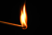 Fire Burning On Matchstick. Is...