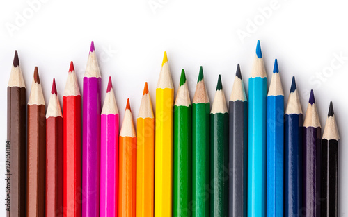 sharpened colored pencils on a white background.