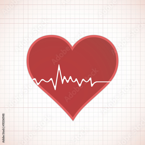 Heart beat cardiogram inside red heart icon concept illustration Canvas Print