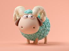 Blue Sheep On Pink Background 3D Illustration