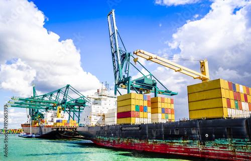 Valokuvatapetti View on container ship in the harbor of Antwerp - Belgiu