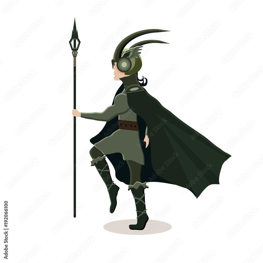 Fototapeta Viking cartoon character. Scandinavian god Loki . Vector illustration. Flat style.