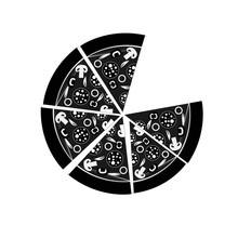 Black And White Pizza Circle Illustration