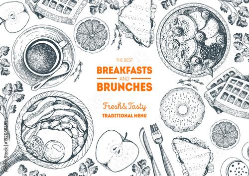 Breakfasts and brunches top view frame. Food menu design. Vintage hand drawn sketch vector illustration.
