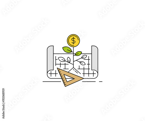 business growth plan concept icon. business strategy line vector design.  coin sprout and business planning illustration stock vector | adobe stock  adobe stock