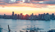 Aerial view of Downtown Miami buildings at sunset