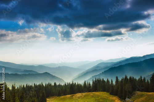 Foto op Aluminium Nachtblauw Majestic landscape of summer mountains. A view of the misty slopes of the mountains in the distance. Morning misty coniferous forest hills in fog and rays of sunlight. Travel background.