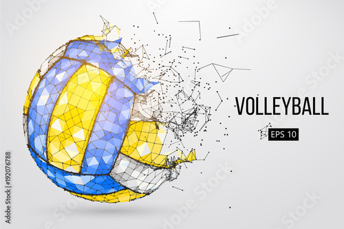 fototapeta na lodówkę Silhouette of a volleyball ball. Dots, lines, triangles, text, color effects and background on a separate layers, color can be changed in one click. Vector illustration.