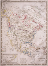 Antique Map Of North America F...