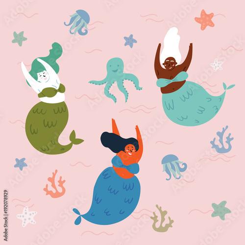 Materiał do szycia Trzy mitycznych stworzeń w morzu są zabawy. Syreny i ośmiornicy w wodzie. Środowiska morskiego lub oceanu. Fishwoman są wspólne pływanie. Świat podwodny fantasy. Ilustracja wektorowa
