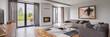 Leinwanddruck Bild - Spacious living room with sofa