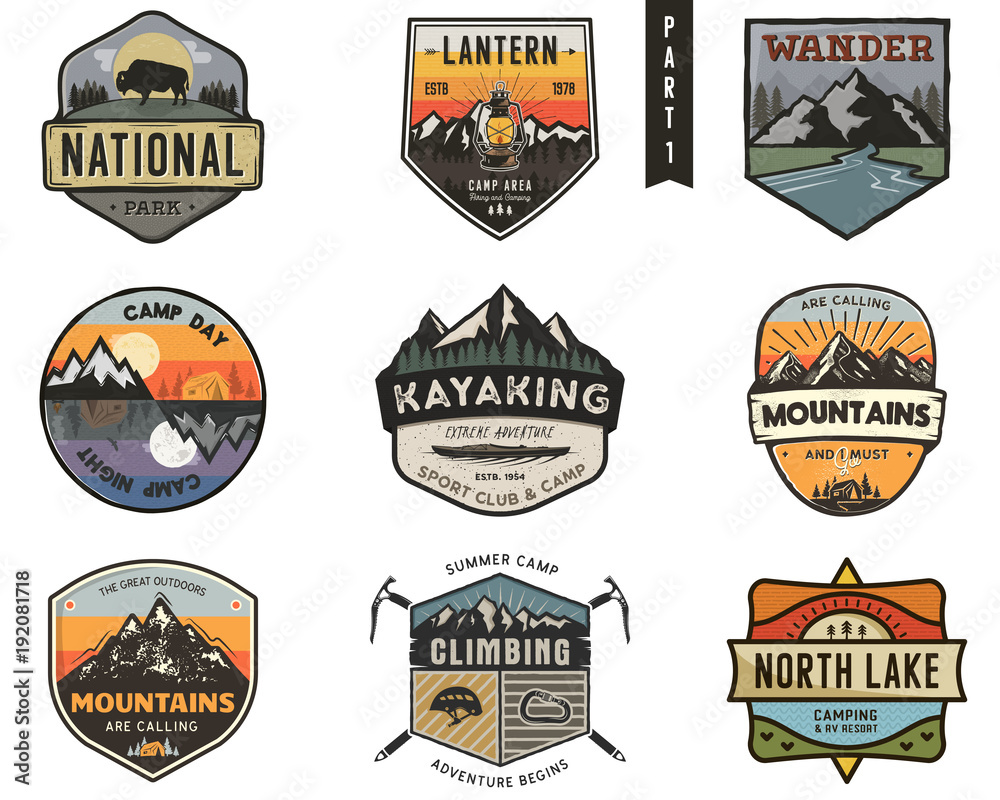 Fototapety, obrazy: Set of vintage hand drawn travel badges. Camping labels concepts. Mountain expedition logo designs. Travel badges. camp logotypes collection. Stock vector patches isolated on white background