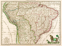 Antique Map Of South America, ...