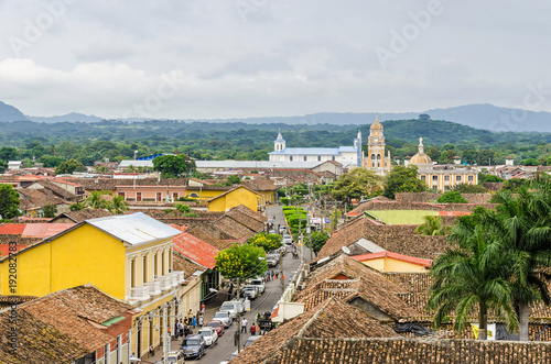 Fotomural Granada city with Calle Real Xalteva in Nicaragua
