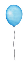 Happy Holiday Flying Blue Balloon Illustration. Joy Symbol. One Single Object, Long Round Shape, Pastel Tones, Black Wavy Twine. Hand Drawn Water Colour Gradient Paint On White Background, Cutout.