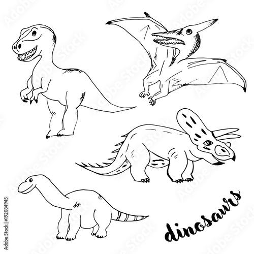 Papiers peints Cartoon draw Doodle dinosaurs with black outline