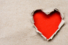Big Hole Red Heart Paper On Br...