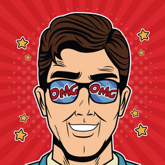 Cool Businessman with glasses pop art cartoon vector illustration graphic design suit and elegance style vibrant colors