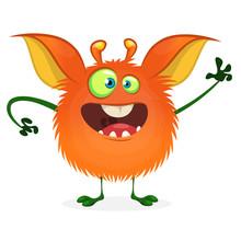 Cute Cartoon Orange Monster. V...