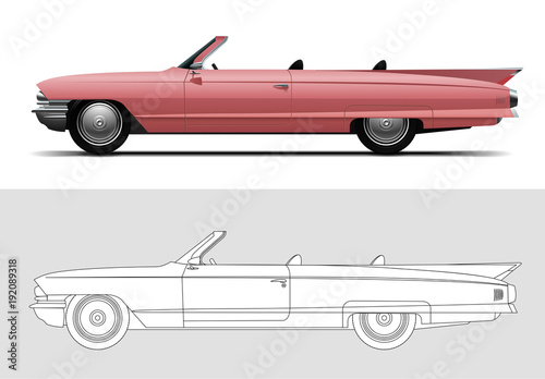 Fényképezés Vector illustration of Cadillac DeVille 1960, Old timer, classic car