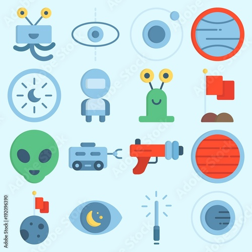 Photo icons set about Universe