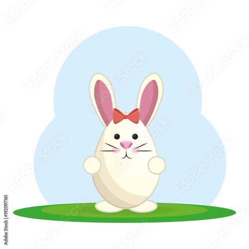 Tuinposter Lichtblauw cute rabbit in landscape vector illustration design