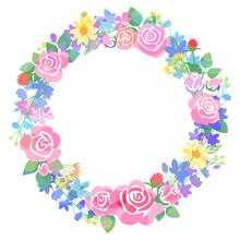 バラと草花のリース