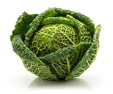 One Savoy Cabbage Isolated On ...