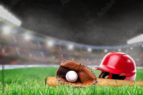 Outdoor Baseball Stadium With Helmet, Bat, Glove and Ball