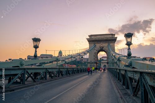 Deurstickers Oost Europa Chain bridge on Danube river in Budapest city