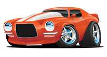 Classic American Muscle Car Cartoon Isolated Vector Illustration
