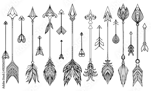 Foto auf AluDibond Boho-Stil Set of hand drawn boho arrows. Vector elements for your design.