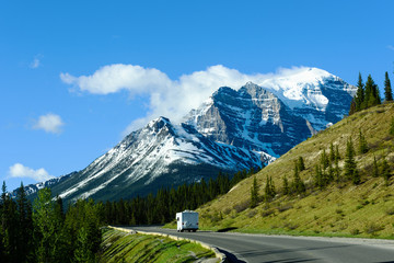 Motor Home on Road Trip to Moraine Lake, Banff National Park, Canada
